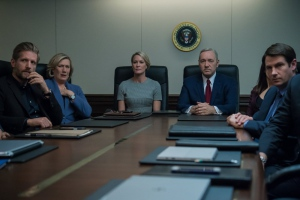 Kevin Spacey, Robin Wright, Jayne Atkinson, Derek Cecil, and Paul Sparks in House of Cards (2013)