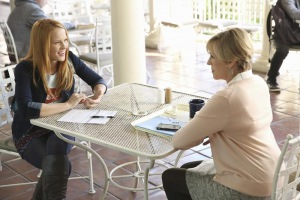Bess Armstrong and Katie Leclerc in Switched at Birth (2011)