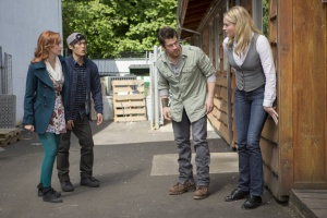 Rebecca Romijn, Lindy Booth, Christian Kane, and John Harlan Kim in The Librarians (2014)